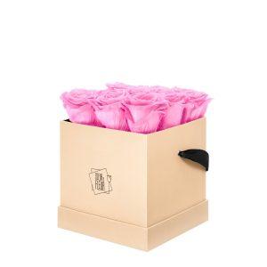 Rosenbox Coeur de Fleur® pinke Rosen beige Rosenbox (M) quadratisch