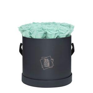 Rosenbox Coeur de Fleur® mint Rosen graue Rosenbox (L) rund