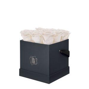 Rosenbox Coeur de Fleur® weisse Rosen graue Rosenbox (M) quadratisch