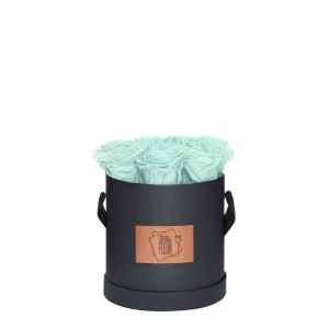 Rosenbox Coeur de Fleur® mint Rosen graue Rosenbox (M) rund Etikett Holz