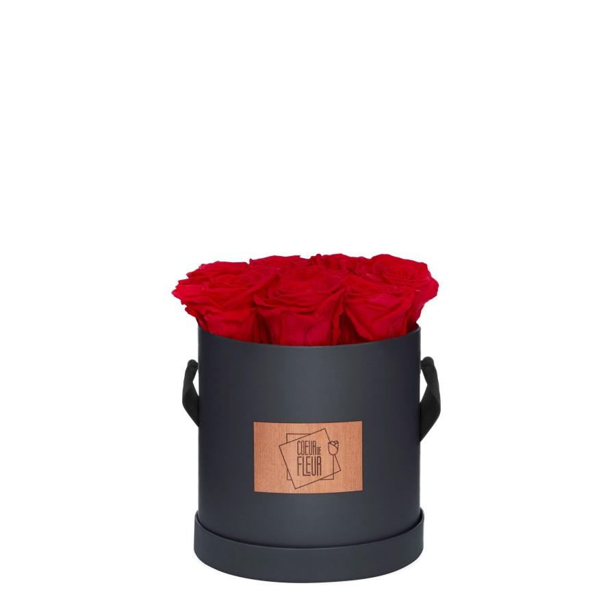 Rosenbox Coeur de Fleur® rote Rosen graue Rosenbox (M) rund Etikett Holz