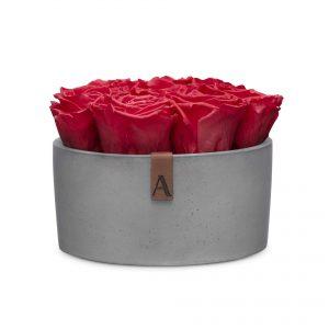 Stone (Infinity) Collection Sichtbeton dunkel rund Blüten Rot Detail